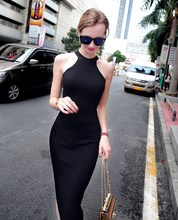 2019 Fashion Women Knitted Halter Neck Bodycon Dress Sexy Solid Summer Sleeveless Split Maxi