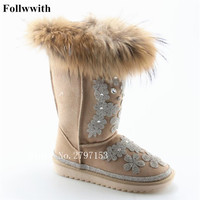 2018 Winter Colorful Rhinestone Snow Boots Luxury Fur Totem Diamonds Shoes Woman Women Boots Casual Flats
