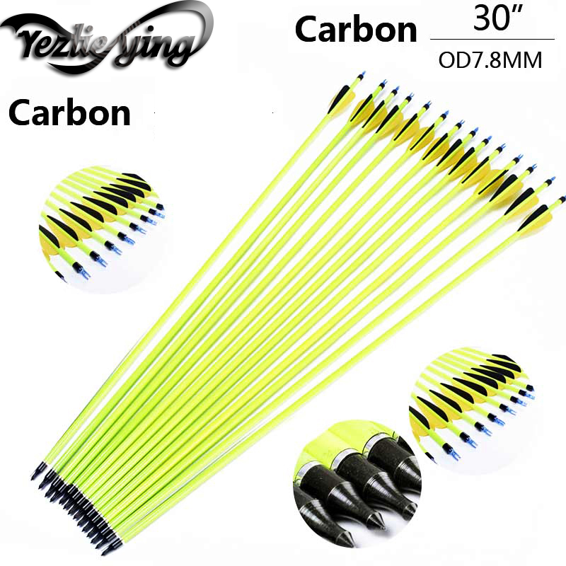 Hot 12PCS 30-Inch Yellow Carbon Arrow Black Feather Replaceable For Composite Bow Hunting Archery Arrows