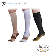 Fancyteck 10 Pairs/Lot Compression Socks Miracle Breathable Long Soft Stockings