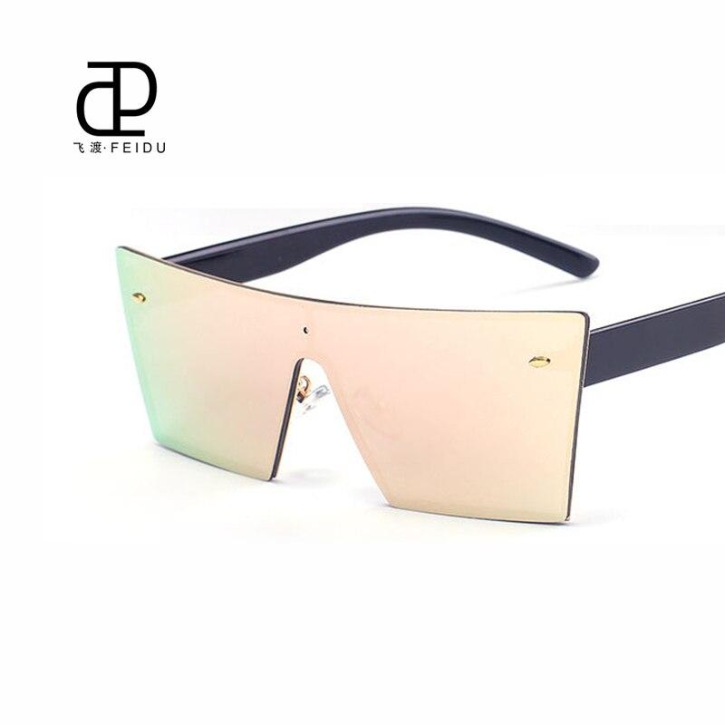Feidu monture carrée lunettes de soleil femmes revêtement écran plat  lentille lunettes de soleil de luxe marque Designer revêtement dames miroir  sans ... 7d37b04a675a