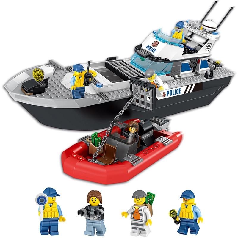 Galleria fotografica Compatibile Con <font><b>LegoING</b></font> Città vista Stradale Poliziotti Patrol Boat Building Blocks Giocattoli Educativi Isolati blocchi di Mattoni Per I Bambini