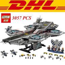 DHL 3057PCS font b LEPIN b font 07043 Superheroe the Shield Helicarrier Aircraft Carrier Building Block