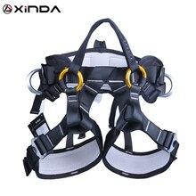 XINDA cinturón de seguridad para acampar, senderismo al aire libre, escalada en roca, medio cuerpo, cinturón de apoyo para la cintura, arnés de árbol de escalada, equipo deportivo aéreo