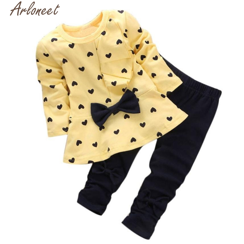 ARLONEET Baby Girl Clothes New Baby Sets Heart-shaped Print Bow Cute 2PCS Kids Set T-shirt+Pants Sets E30 Jan10 1