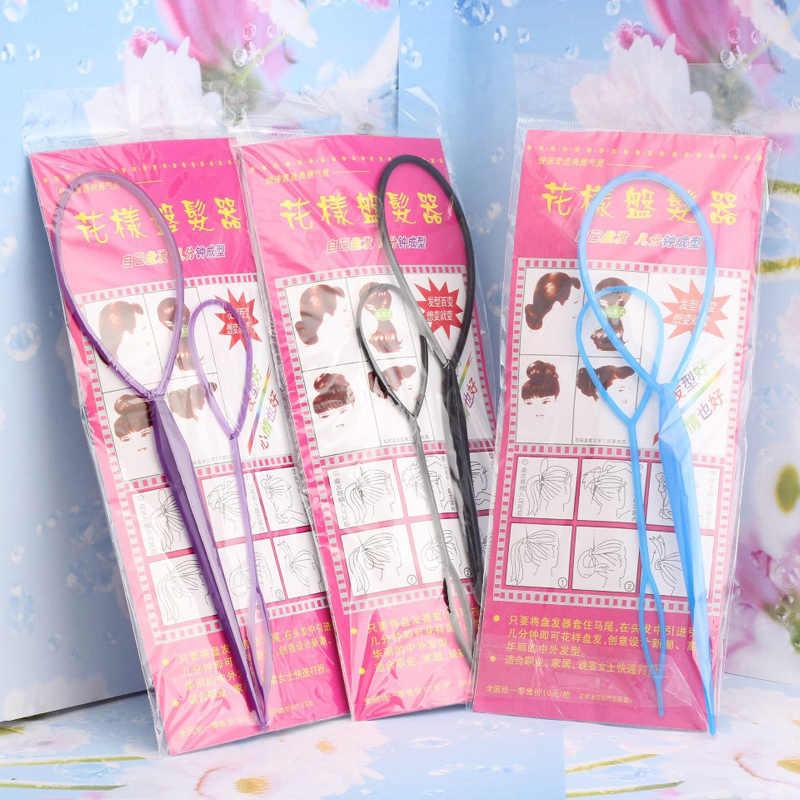 2 Pcs/set Magic Rambut Bun Pembuat Karet Rambut Aksesoris Rambut Wanita Piring Tarik Pin Styling Pemegang Cepat Hidangan Ikat Kepala