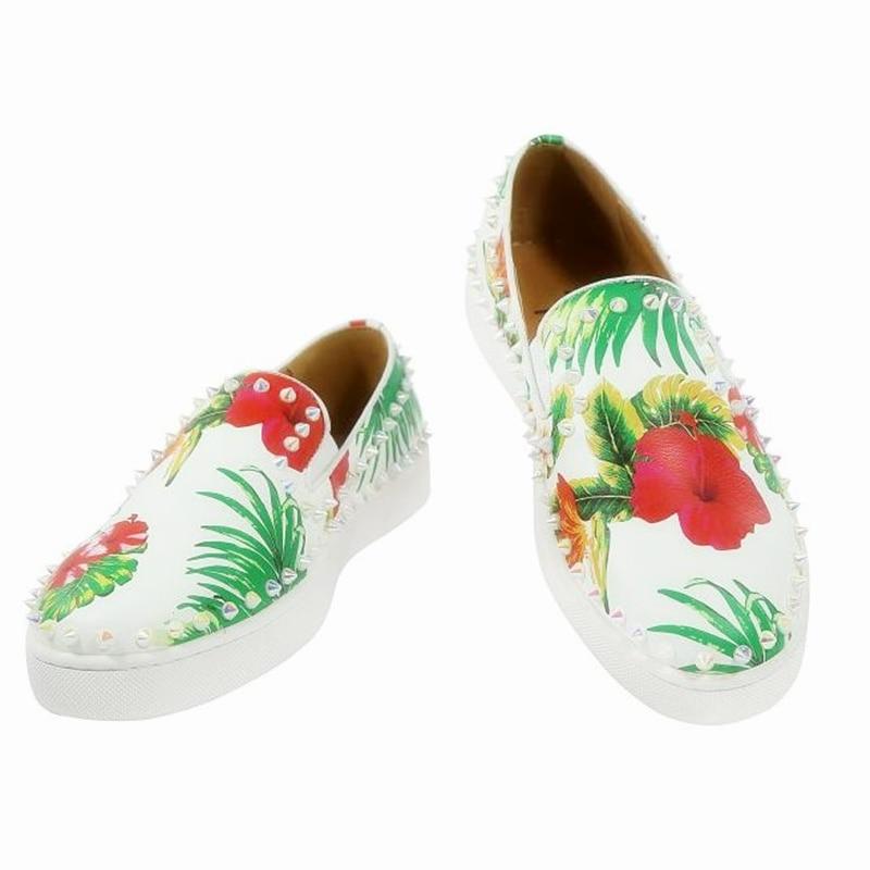 Da Sapatos Homens Casuais Impresso Flor Luxo De Confortável Dos Respirável Pérola Marca Mocassins Couro Moda Primavera zSq4S