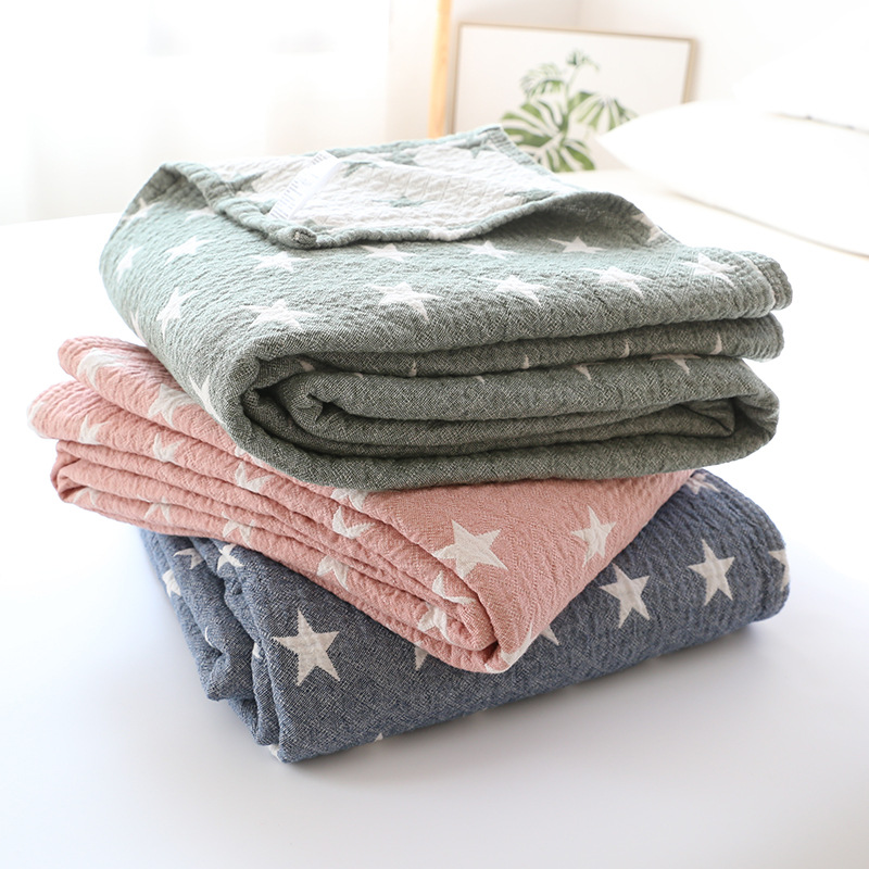 Plaid Cotton Towel Blanket Summer Thin Quilts Bedspread Plane Travel Air Conditioning Blankets Soft Throw Blankets