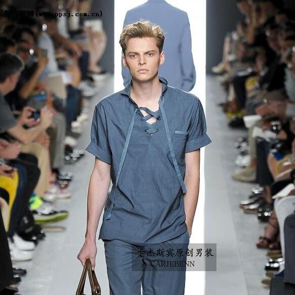 2019 été tempérament hommes mode bleu top hommes cool ciel mince manches courtes T-shirt S-3XL! Big yards vêtements pour hommes