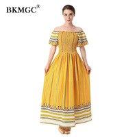 A line Dresses Girl Womens Spring Lady Lovely Golden Yellow Princess Dress Girls Slash Neck Cute Womens Casual Summer Dress