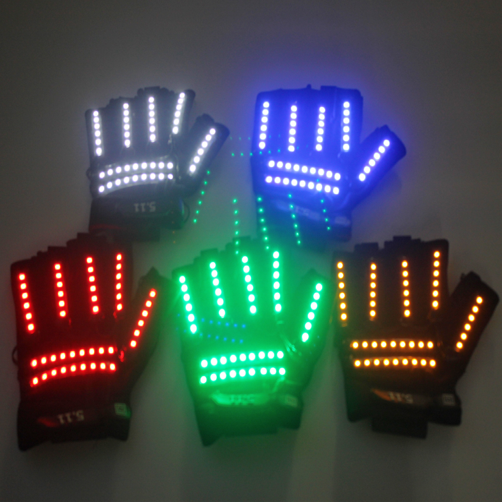 LED Glow Gloves Rave Light Flashing Finger Lighting Glow Mittens Magic Black luminous gloves Party supplies
