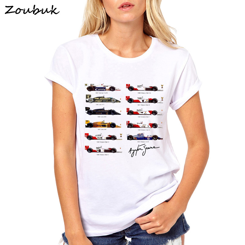 2018 New T Shirt Women All F1 Ayrton Senna Cars Fans T-shirt Slim Fit Solid Color fitness Casual Tops Lotus 99T Tee