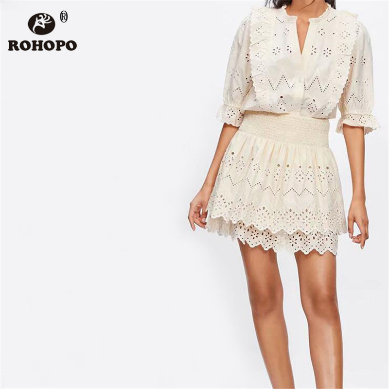 ROHOPO Women Chic Preppy Long Sleeve Cotton Blouse Butterfly Lace Embroidery Ruffles Beige Female Top Shirt #UK9308