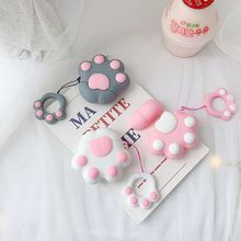 Cute Cat Claw Style Soft Silicone Protective Cover Shockproof Case Skin Shell With Lanyard for Airpods 1/2 Charging Box
