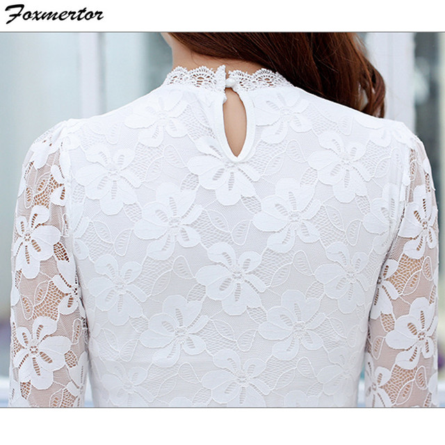 Femininas Blusas 2019 Women Blouses Spring Autumn Fashion Sexy Slim Shirt Tops Lace Long Sleeve O-Neck Leisure Black/White S-5XL