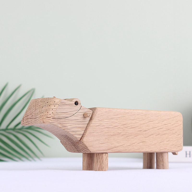 Denmark birthday gifts crafts ornaments wooden toy Hippo pure wood Handmade spot birthday gift Home Decor