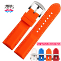 AOTU Colorful 22mm Soft Silicone Rubber Watch Band Stainless Steel Pin Buckle for Armani Omega Watch Straps Man Woman+Free Tools