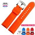 Aotu colorido 22mm pin fivela de aço inoxidável faixa de relógio de borracha de silicone macio para omega watch straps homem mulher armani + ferramentas gratuitas