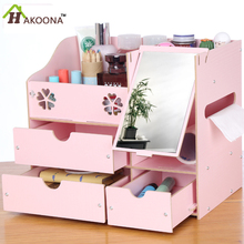 Desktop Office Supplies Wooden Bookcase With Mirror Cosmetics Make up Storage Box Big Size With Drawers Shelves