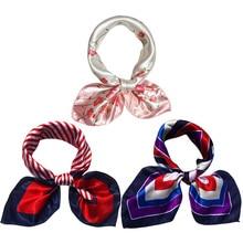 New Silk scarf women  small soft squares Decorative multi-functional Print head Ladies scarves fashion