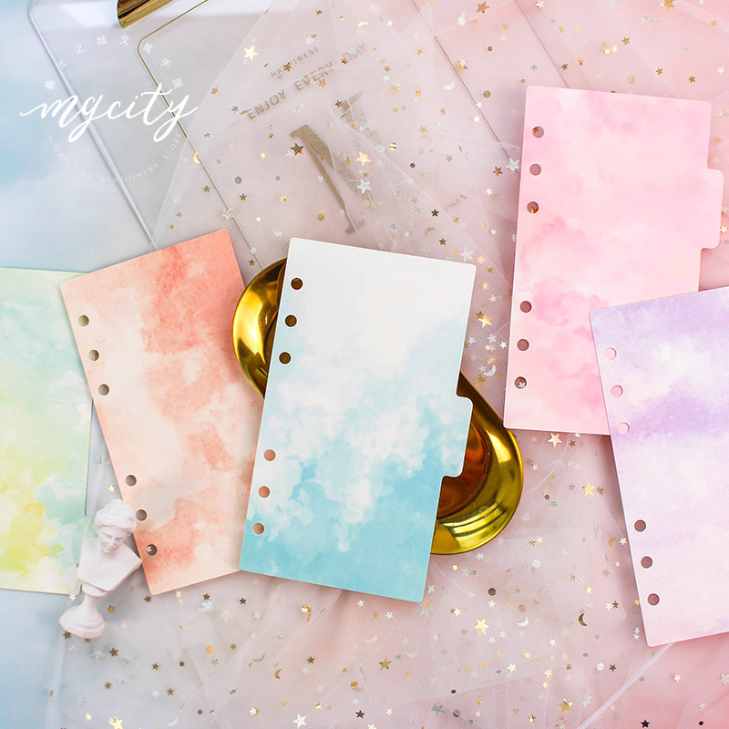 WOKO 5pcs/set Pink Memory Series Divider A5 A6 Spiral Notebook Loose Leaf Separator Pages Notebook Paper Watercolor Inside Pages