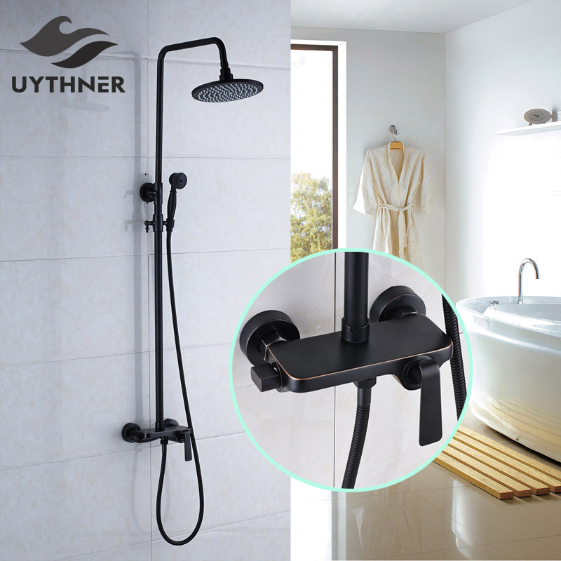 Newly US Free Shipping Wholesale And Retail Oil Rubbed Bronze Bath Shower Faucet Set 8 Rain Shower Head + Hand Shower Spray