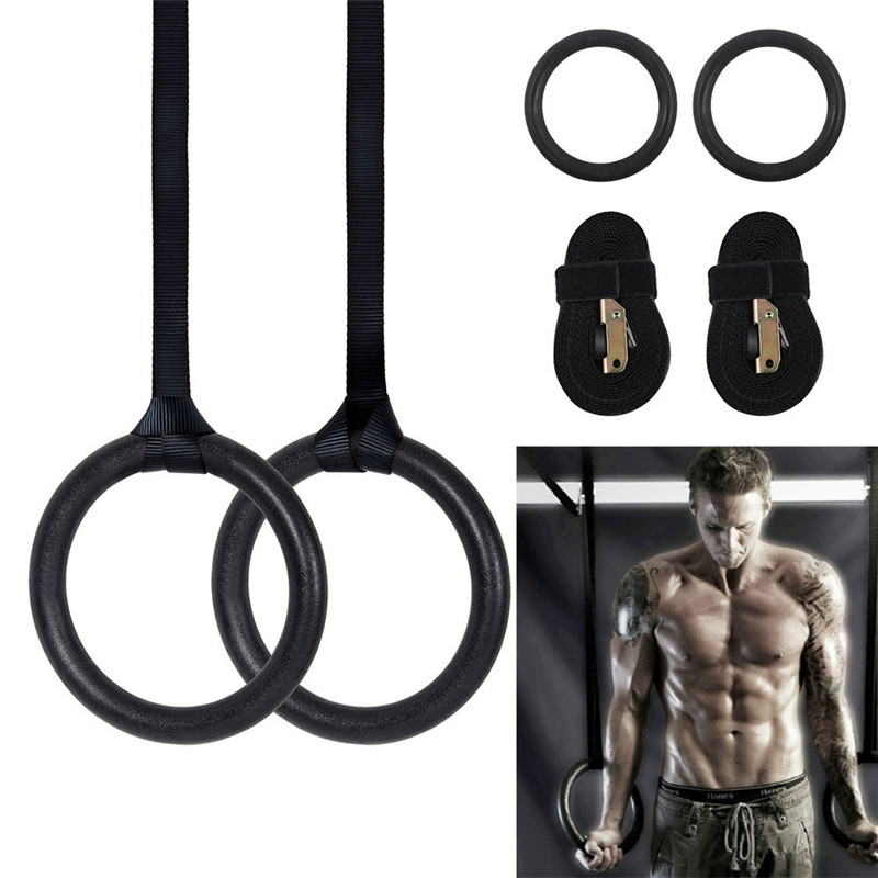 ABS Gymnastic Crossfit Gym Fitness Rings With Straps Buckles Strength Training Pull Up Dips-Top