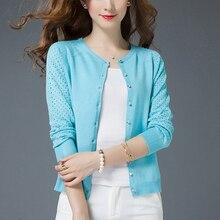 Осенний короткий вязаный кардиган ярких цветов, чистый корейский модный темперамент, универсальная вязаная куртка