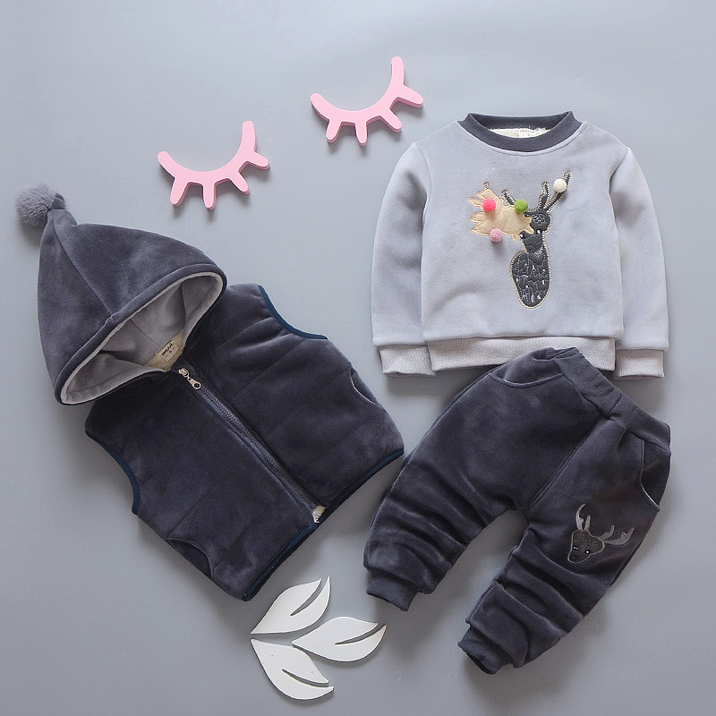 Free shippin 2018 winter children cashmere Cartoon thickened 3pcs sets baby boys and girls clothes suits free shipping 2017 winter thickening children s suits baby boys and girls pentagram smiley face velvet 2pcs sets