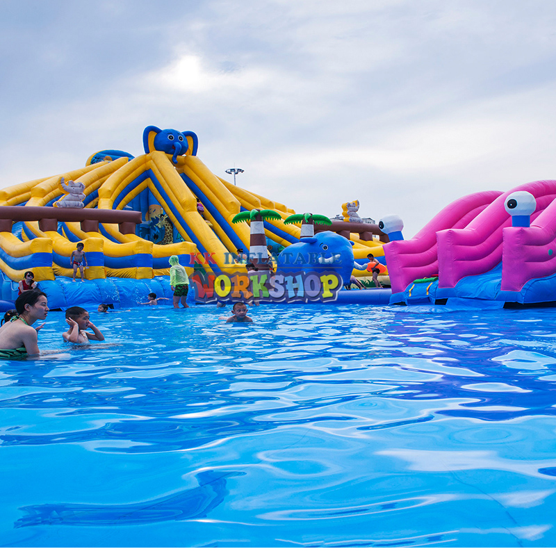 Wholesale Inflatable Elephant Water Park Slides And Pool Kids Adult Playground Giant Inflatable Water Slide With Pool