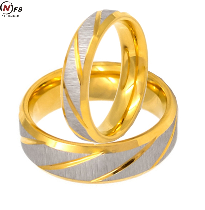 nfs gold color custom alliance twill stainless steel wedding bands couples rings sets for him and her anillos de boda anel ouro - Cheap Wedding Rings Sets For Him And Her