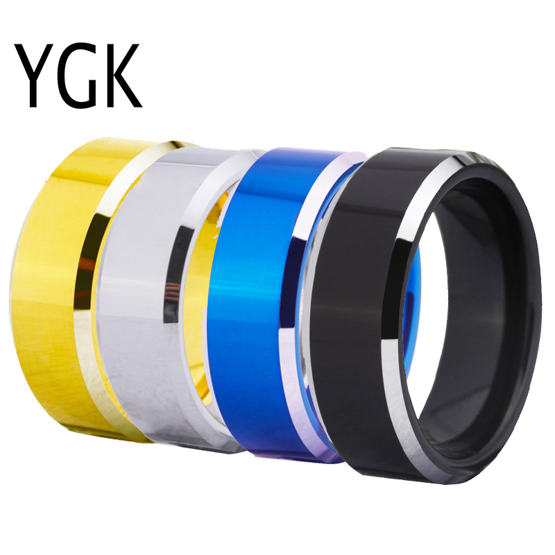 Venta caliente de los hombres boda anillo de compromiso de moda DIY Logotipo de aduanas grabado confort Fit joyería de tungsteno anillo fiesta