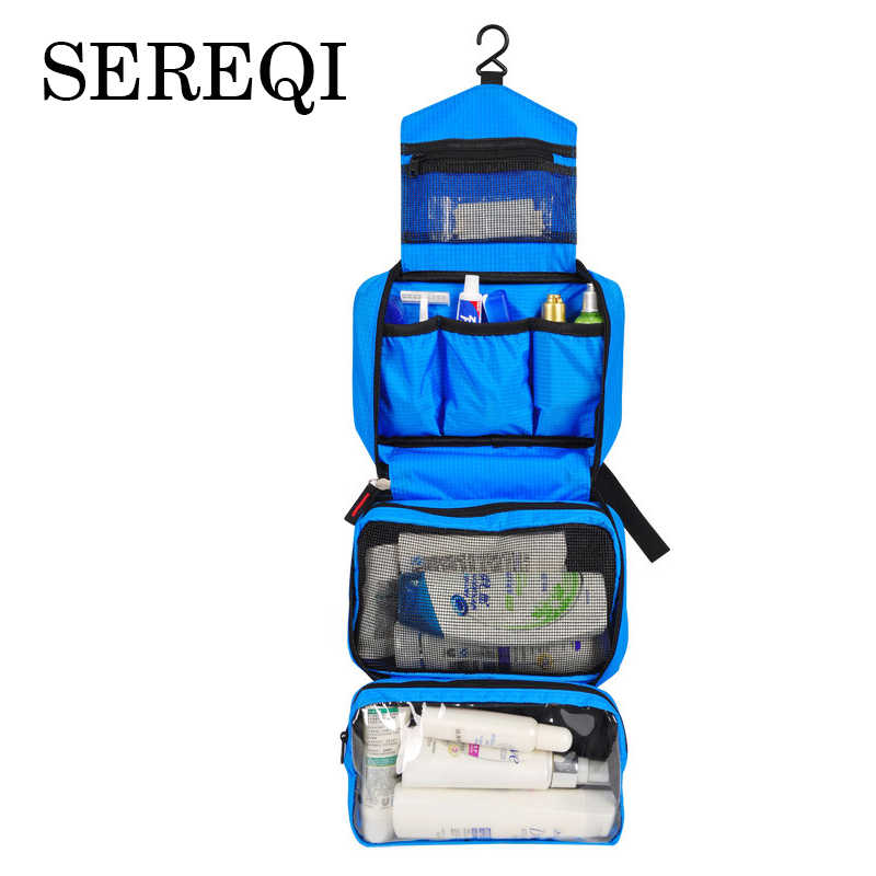 SEREQI Waterproof Portable Oxford Cloth Travel Cosmetic Bag Hanging Wash Bag Neutral Make Up Bag Organizer Bathroom Wash Bag