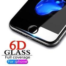 d5b27e7a986 6D Protector de pantalla de vidrio templado para iPhone 6 6 s 7 8 Plus  borde Protector de la cubierta completa de OnFor iPhone 6.