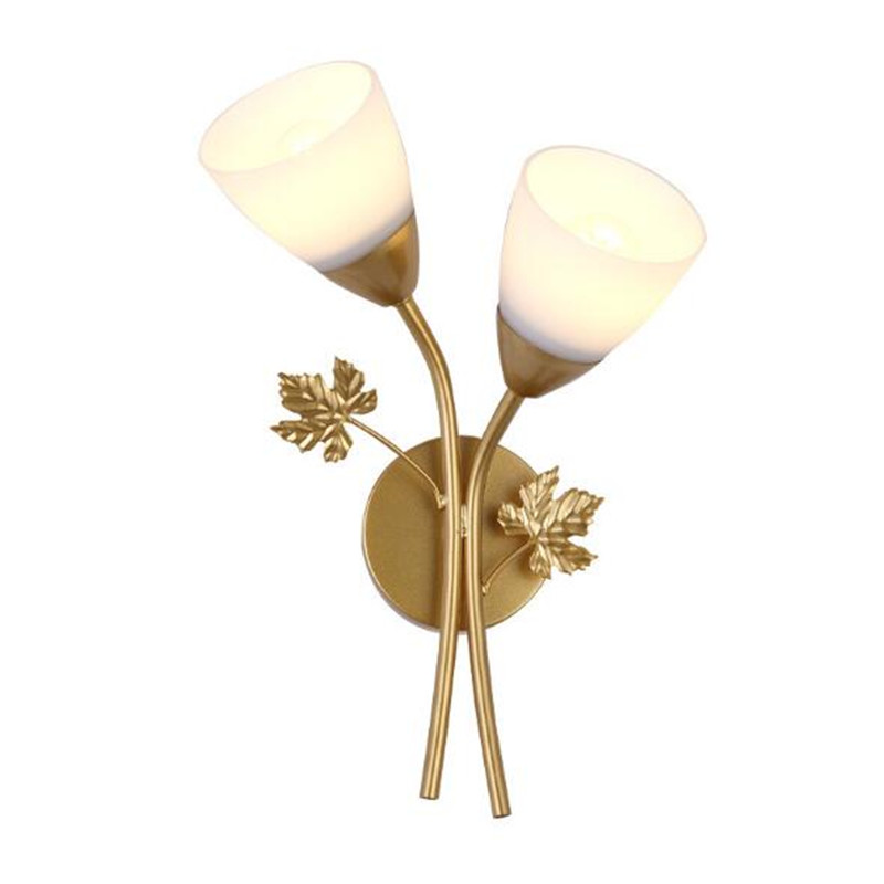 Modern Simple Creative Maple Leaf Led E27 Wall Lamp for Bedroom Living Room Aisle Gold/Black Iron Glass Porch Light 2255