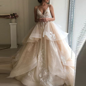 Image 1 - ĐầM Dạ HộI Liban Voan Appliques Áo dây De soiree abiye Khiêm Tốn Váy Dạ Hội Champagne Tự làm abendkleider 2019