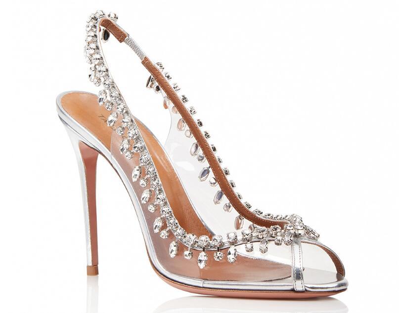 Europe et amérique chaud Sexy mode argent PVC Peep Toe chaussures talons minces cristal femmes chaussures peu profondes grande taille femmes pompes