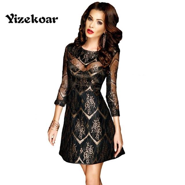 Yizekoar new spring Skater Dresses 2018 Gold Sheer Lace Overlay Sleeved  Little Black Party wear for Women Robe Femme DL22926 e1416fa46159