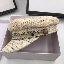 Han editie chun xia, dunne stro cap platte achthoekige krantenjongenspet kunst van leisure marine cap