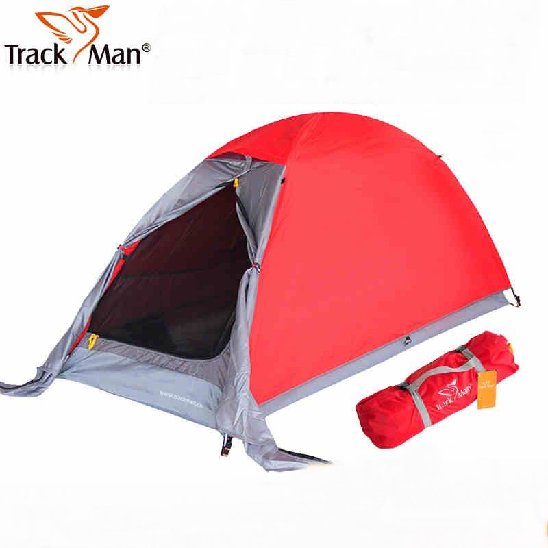 Outdoor Double Layer Waterproof Single Tents Aluminum Rod One People CampingTent  For Hiking Fishing Picnic Orange Blue With Mat high quality outdoor 2 person camping tent double layer aluminum rod ultralight tent with snow skirt oneroad windsnow 2 plus