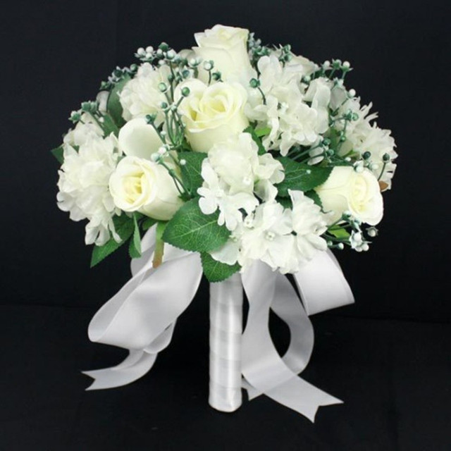 White Blue Ivory Purple Romantic Silk Rose Bridesmaids Flowers With Leaf Berry Bridal Wedding Bouquet