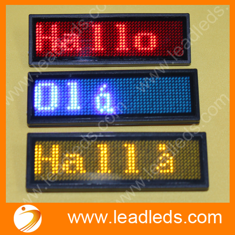 3sets/lot  Wholesale Mini Sign Board Led Name Badge Display Scrolling Message Support Arabic Etc Multinational Language
