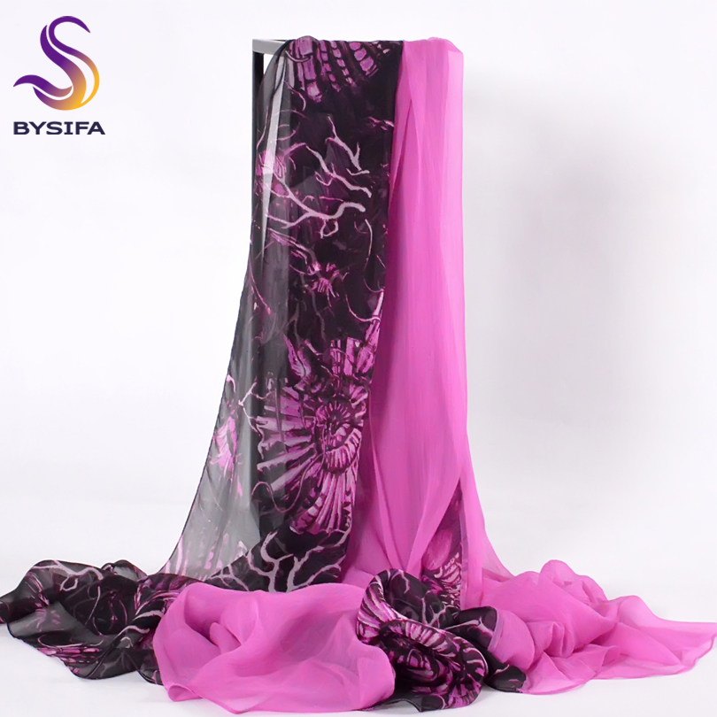 [BYSIFA] Luxury Silk   Scarf   Shawl Women New Design Patchwork Long   Scarves     Wraps   Black Purple Ladies Beach Silk   Scarf   Cover Ups