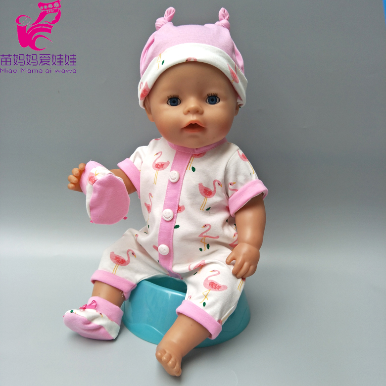 Doll clothes for 43cm born baby doll coat cute hat flamingo rompers for 17