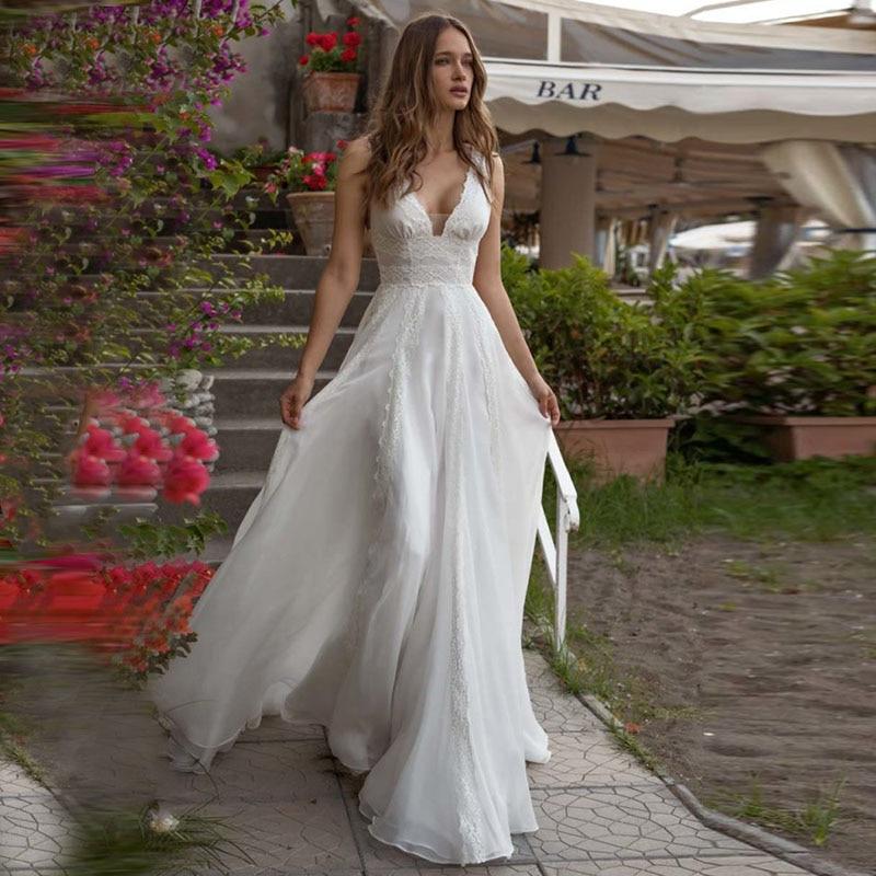 New Bridal Wedding Gown Centre: Empire Waist Boho Wedding Dress A Line Chiffon Lace