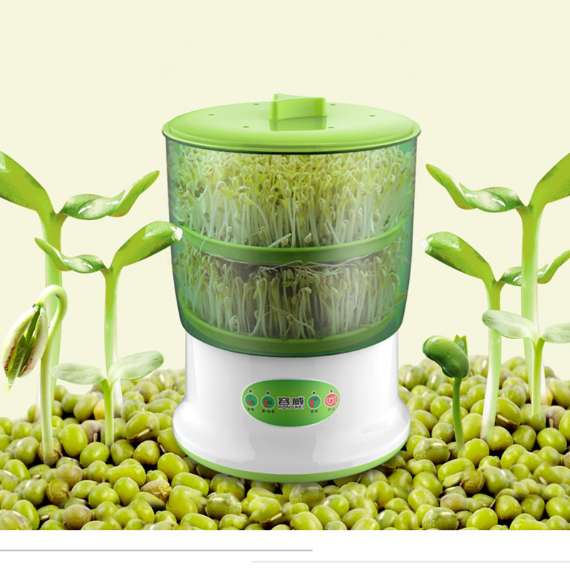 220V 20W Intelligent Microcomputer Control Double Bean Sprouts Machine Household Electric  Bean Sprouts Maker  EU/AU/UK/US Plug bear three layers of bean sprouts machine intelligent bean sprout tooth machine dyj b03t1