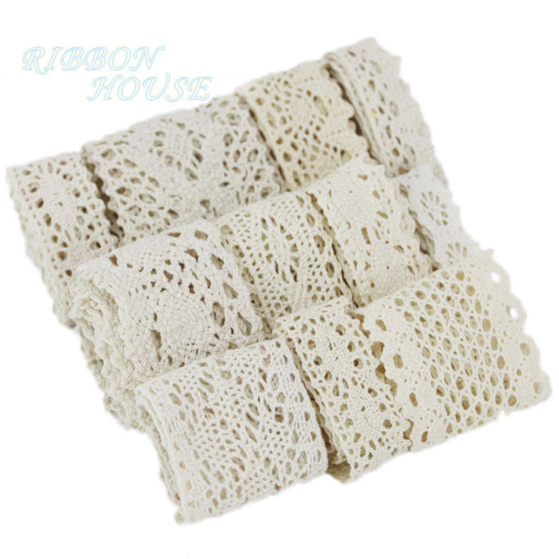 Cotton Lace Ribbon Beige DIY Handmade Wedding Party Craft Gift Packing Patchwork Crocheted Lace (5 Meters/lot)