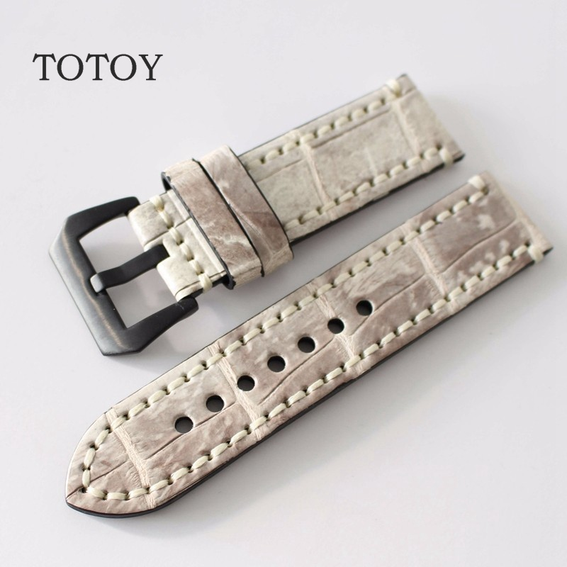 TOTOY Handwo American Alligator Wacthband, 26MM 24MM/22MM/20MM Retro Men Watchband, For PAM111 Leather Strap new matte red gray blue leather watchband 22mm 24mm 26mm retro strap handmade men s watch straps for panerai