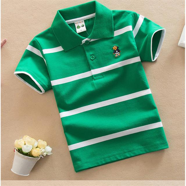 Jargazol T Shirt Kids Clothes Turn-down Collar Baby Boy Summer Top Tshirt Color Stripes Vetement Enfant Fille Camisetas Fnaf