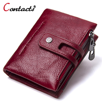 Contact S Brand Genuine Leather Women Wallet Zipper Hasp Female Portomonee Short Coin Purse Small Purse